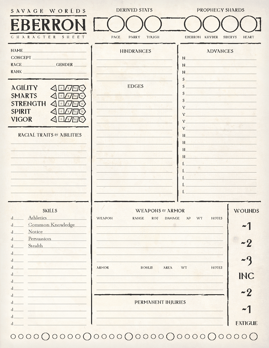 Page 1 of 2 of the Savage Eberron character sheet.