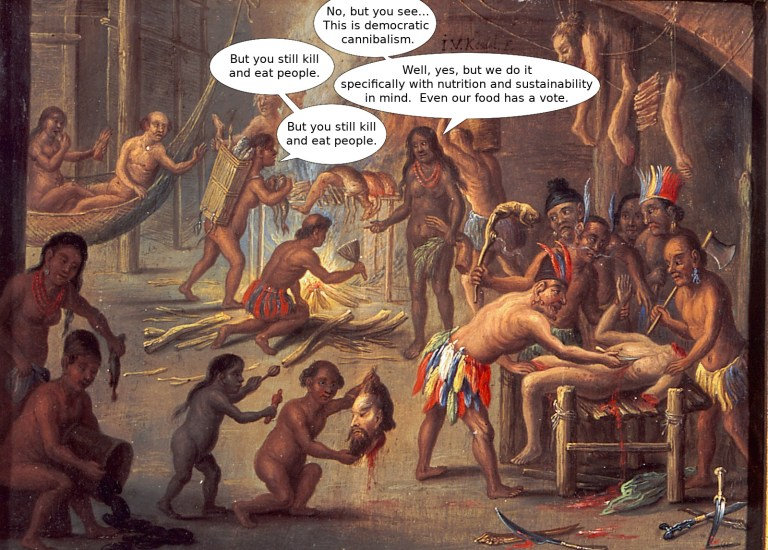 Democratic cannibalism- not the same as traditional cannibalism