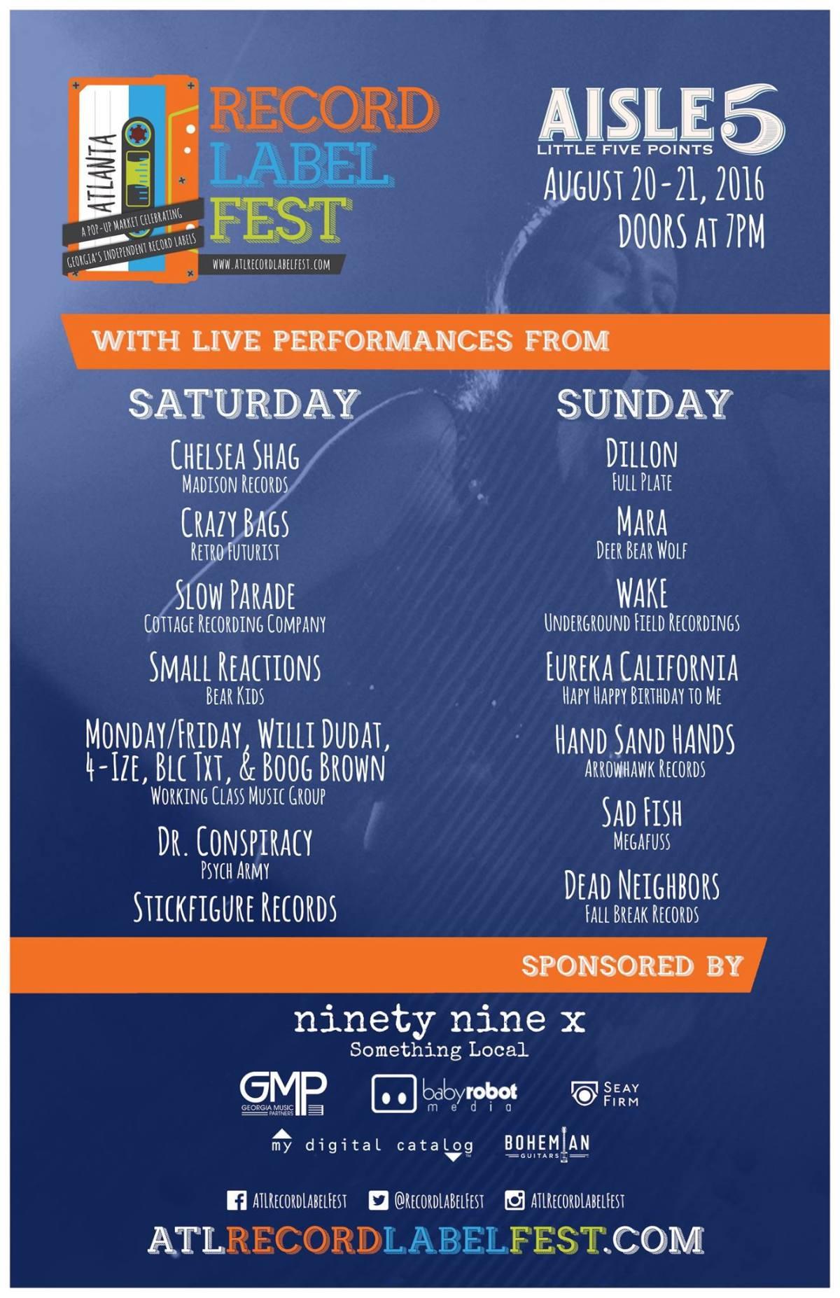Atlanta Record Label Fest 2016 lineup