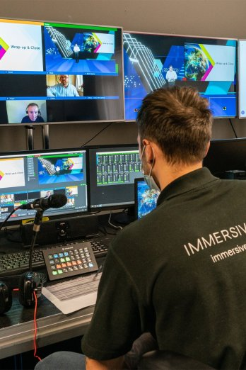 An Immersive AV streaming engineer operating the Thales virtual conference
