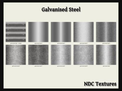 [Immersive Digital] NDC-T043 Galvanised Steel Texture Pack Contact Sheet