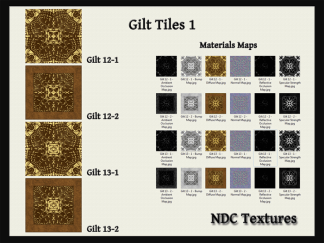 [Immersive Digital] NDC Textures NDC-T083 Gilt Tiles 1 Contact Sheet