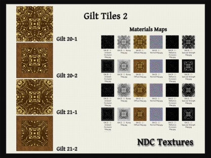 Gilt Tiles 2 Texture and Materials Pack by NDC Textures