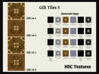 [Immersive Digital] NDC Textures Gilt Tiles 5 Texture & Materials Pack Contact Sheet