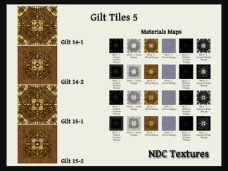 [Immersive Digital] NDC Textures Gilt Tiles 5 Texture & Materials Pack Contact Sheet