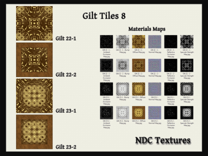[Immersive Digital] NDC Textures NDC-T106 Gilt Tiles 8 Texture & Materials Pack Contact Sheet