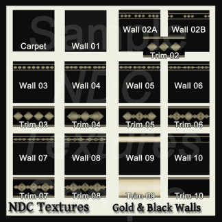 [Immersive Digital] NDC Textures Gold and Black Walls Contact Sheet
