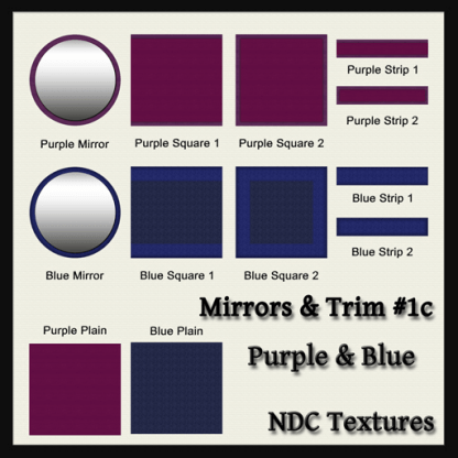 Mirrors and Trim 1c – Purple and Blue – Texture Pack by NDC Textures
