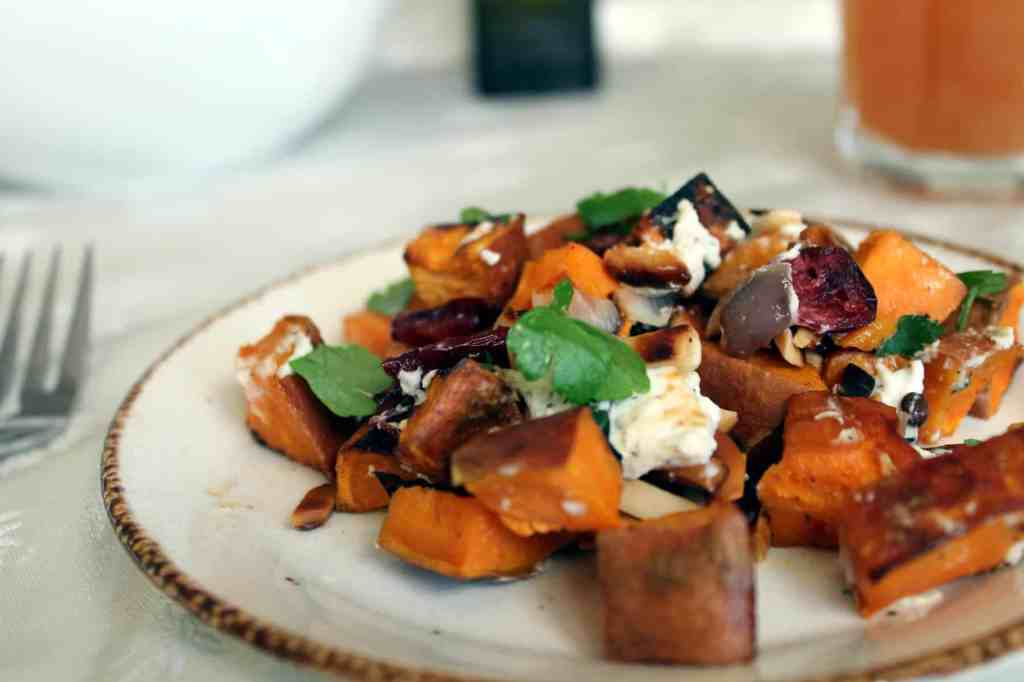 Sweet potatoes with chevre and toasted nuts