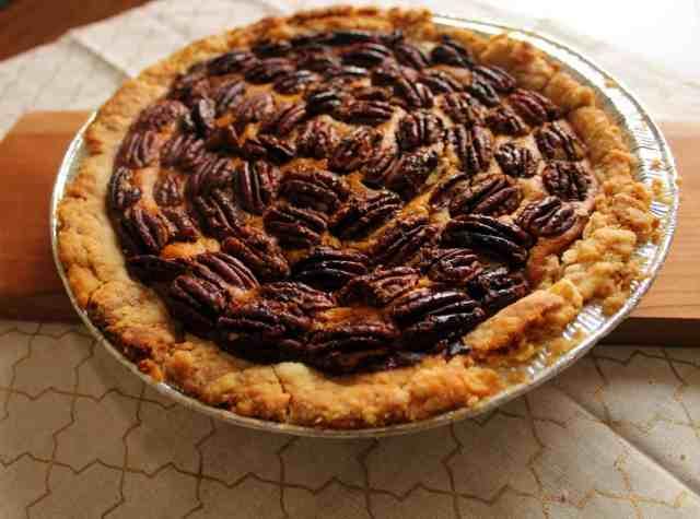 pumpkin pecan pie baked