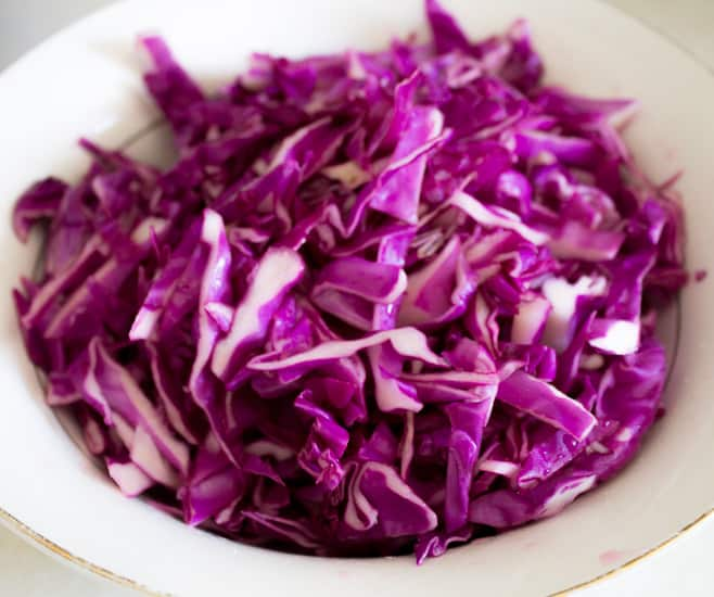 Purple cabbage and pickled mushroom salad 3