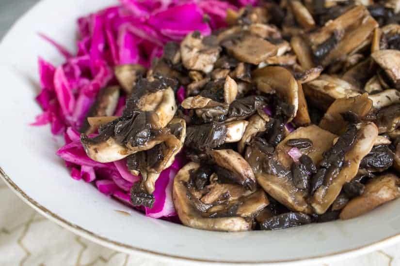 Purple cabbage and pickled mushroom salad 5