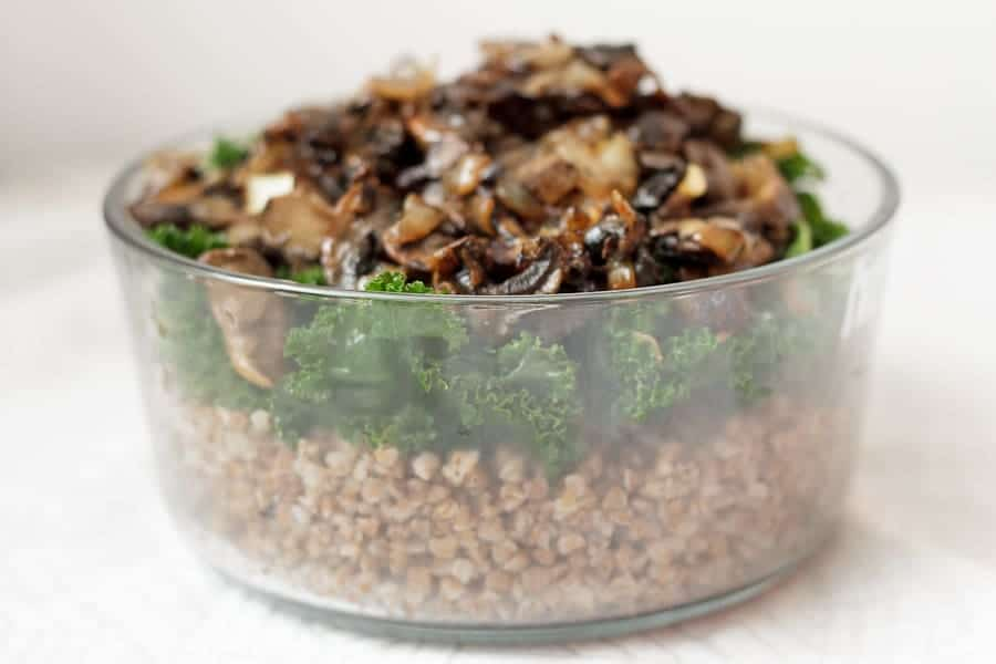 Kasha with caramelized mushrooms and onions