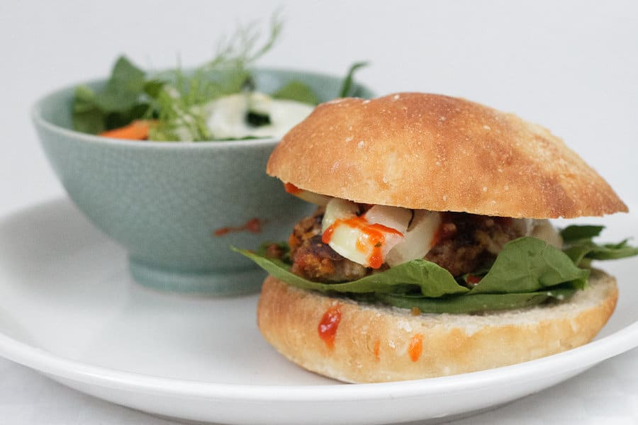 Roasted garlic and yam burgers with a Tamari almond coating