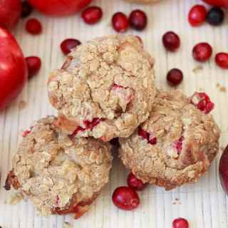 Apple cranberry muffins with a Cranberry crunch granola streusel topping, or getting into the December spirit