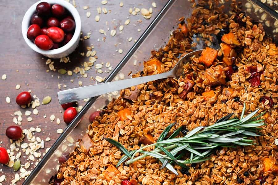 Sweet potato, almond and cranberry casserole with berry granola crumble
