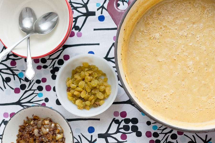 Middle Eastern spiced Cauliflower soup with golden raisins