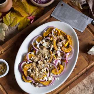 Delicata squash with feta, red onions and dukkah (Sabatier cleaver review + GIVEAWAY)