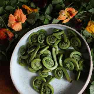 Montreal spring fiddlehead salad with dill-lemon balm kefir dressing (GF)