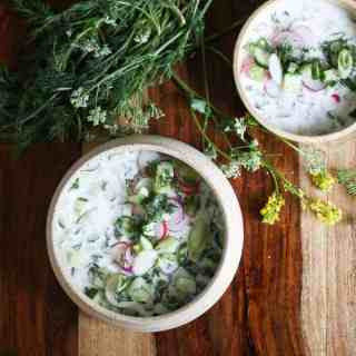 Cold Bulgarian soup with kefir and cucumbers