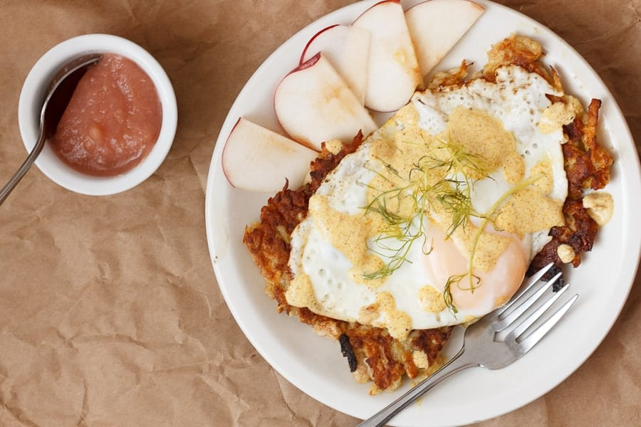 Apple potato latkes with curried yogurt sauce