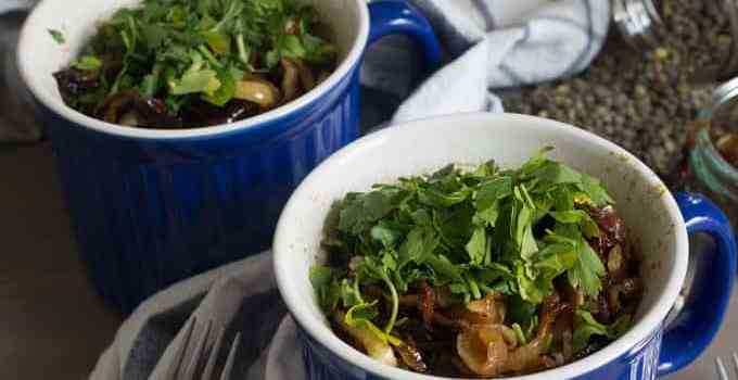 Mujadara for one in the Corningware Meal Mug, or how to save your work lunch