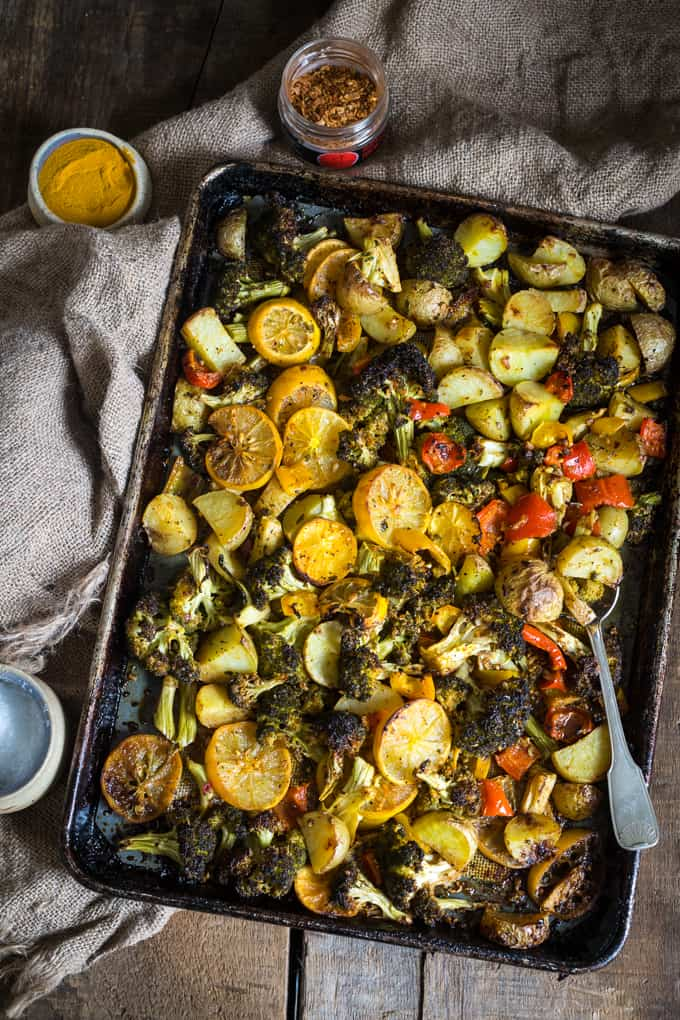 Roasted lemon potatoes, broccoli and bell peppers