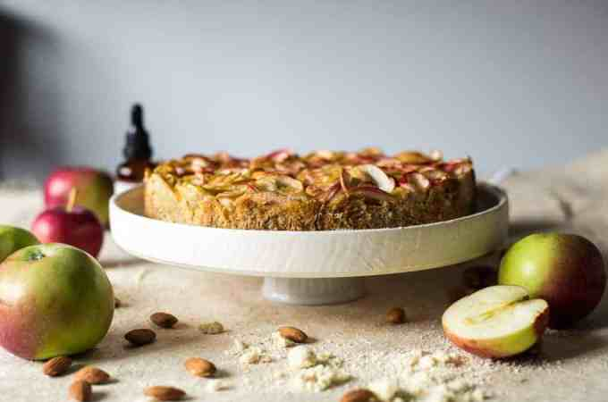 Almond apple cake with apple roses