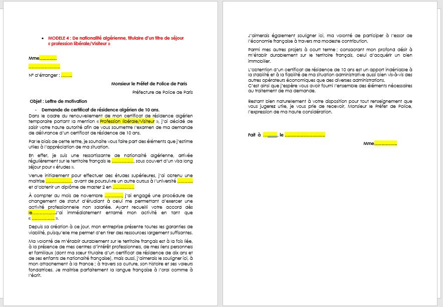 renouvellement carte de résident 10 ans Lettre de motivation : demande de Carte de résident de 10 ans
