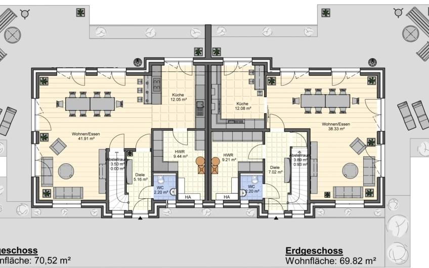 Nur noch 2 Häuser!!!Neubau in Küstennähe, DHH inkl. Südgrundstück in Varel, KfW 55 Energie-Effizienshaus I GSNR 1 I Exposé Nr: 132/20