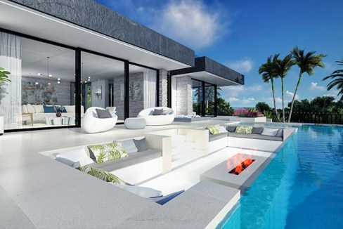 Villa sur plan de 4 chambres avec vue sur la mer sur la Costa del Sol Benahavis3