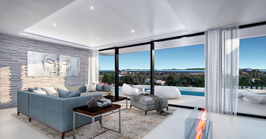 Villa sur plan de 4 chambres avec vue sur la mer sur la Costa del Sol Benahavis4