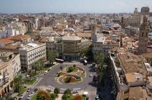 le centre de la ville de Valence vu de la cathédrale