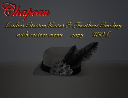 Ladies Stetson Roses & Feathers Smokey