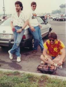 A Twenty-Something me, with beard and mullet (I know) tailgating before a Grateful Dead show. Photo Randall Luttenburg