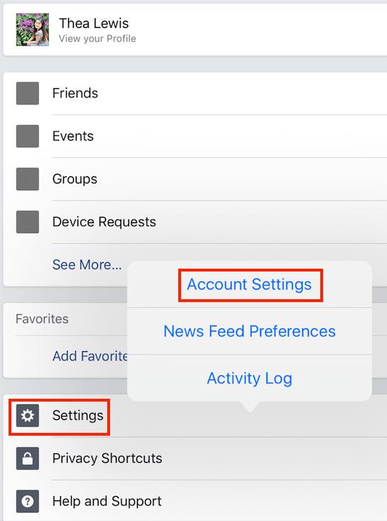 Facebook Account Settings Blocking