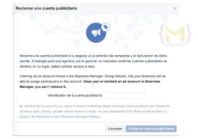 como reclamo una cuenta publicitaria facebook