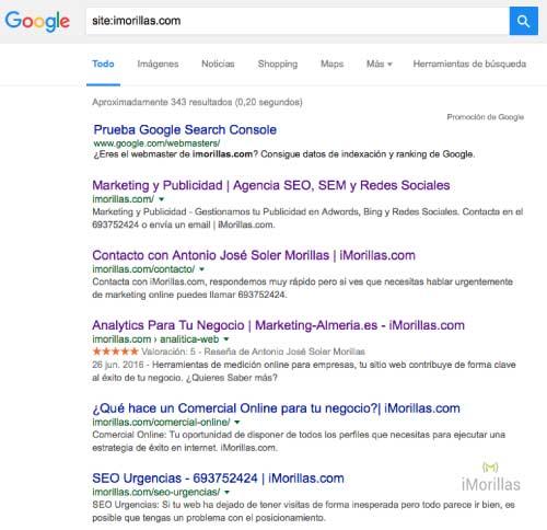 Cómo se usa el operador site: en google