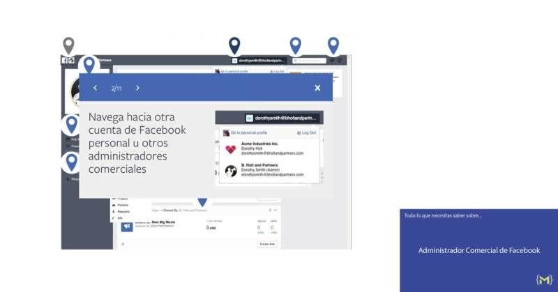 Navega hacia otra cuenta de Facebook personal u otros administradores comerciales