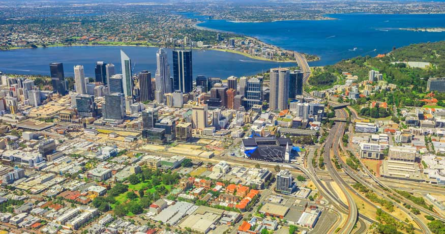 Perth CBD and surrounds aerial view