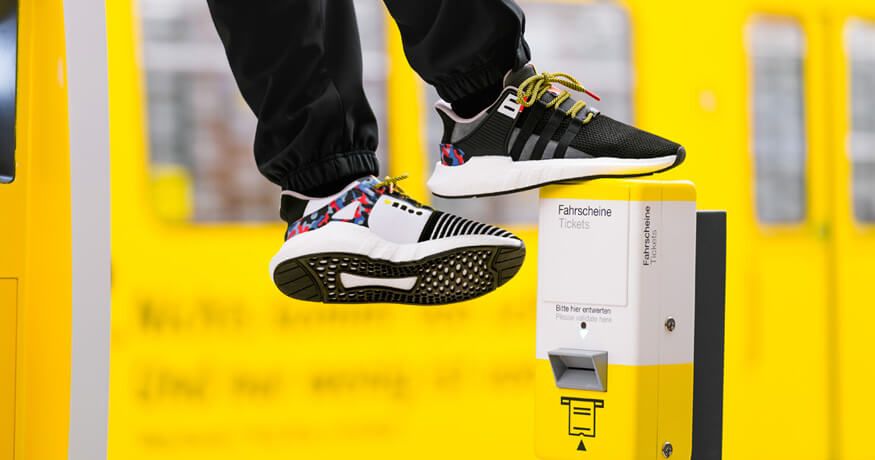 Adidas EQT Support shoes with BVG transport pass