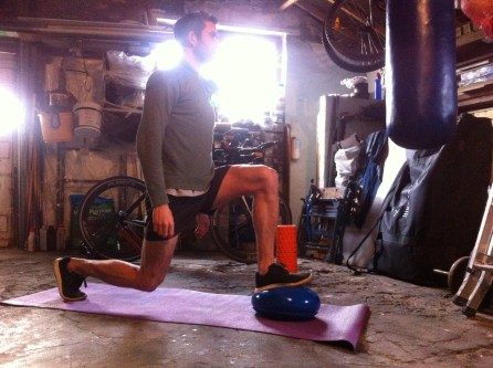 Lunges - 3 alternatives. 1. lunge onto the cushion 2. keep one foot on the cushion and reverse lunge off 3. place your toe on the cushion and lunge forward