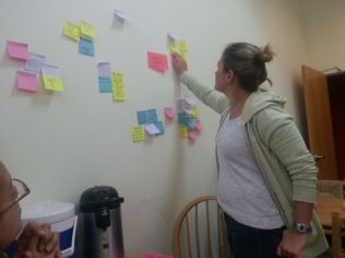 Stephanie collecting customer insights for Destiny Arts Center.