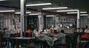 Workhop with overhead fluorescent lighting