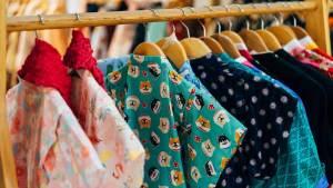 Clothes rail in shop