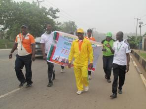 Comrade Oduguwa leading other teachers during the walk