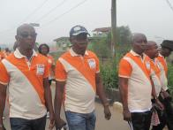 Mr Owolabi with other chieftains of NUT during the walk