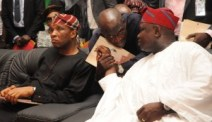 Lagos State Governor, Mr. Akinwunmi Ambode, with member, House of Representatives, Epe Federal Constituency, Hon. Wale Raji and Secretary to the State Government, Mr. Tunji Bello during the Y2016 First Quarter Town Hall meeting, at the Ikorodu Town Hall, Ikorodu, Lagos