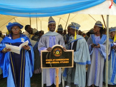 A student of the department of Mass Communication, Ganiu Oshinubi leading other students of the School of Communication and Liberal Studies, LASPOTECH during the convocation ceremony