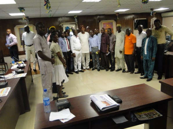 Hon. Bamigbetan and Hon. Kolade in group photograph with members of the State Community Media Forum